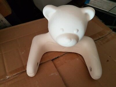 Ceramic Bisque Teddy Toilet Roll Holder New  Ready to Paint Pottery