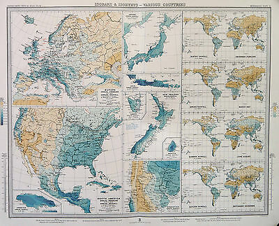 Map of world Various Countries Isobars & Isohyets Large 1899 Original Antique