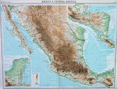 Map of Mexico & Central America Large 1922 Original Antique
