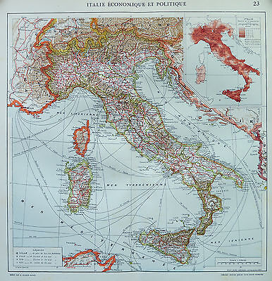 Map of Italy French Large 1925 Original Antique