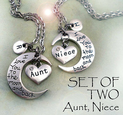 Set Of 2 Aunt Niece I Love You To The Moon And Back Necklaces