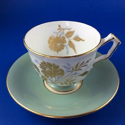 Aynsley Sage Green and Gold Floral Bone China Tea Cup And Saucer