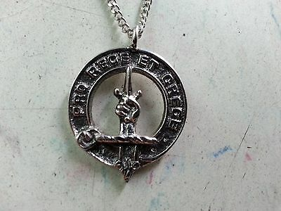 PATERSON  FAMILY CREST NECKLACE PEWTER SCOTLAND SCOTTISH FAMILY NEW Vintage