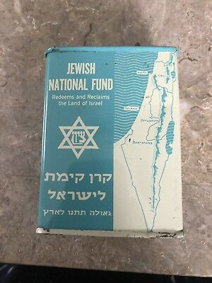 Vtg Jewish National Fund Collection Tin Coin Bank Redeem Land of Israel