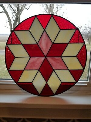 """Leaded & Stained Glass 15"""" Window Hanging Panel Red  Pink Star Primitive Decor"""