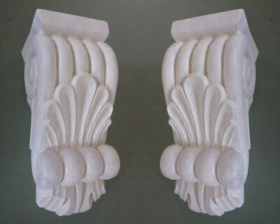 Pair of Primed Classical Corbels with cappings, #PNT719 in pine wood