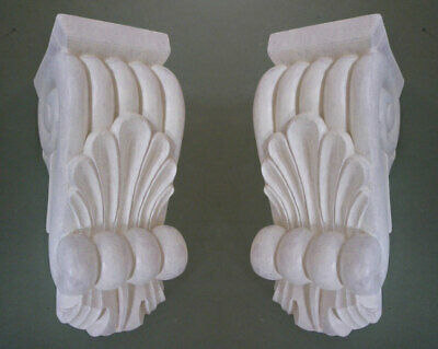 Primed Classical Corbels with cappings (Pair) #PNT719 in pine wood