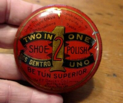 vintage two in one shoe polish tin advertising empty part
