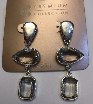 4bf7d810e Charming Charlie Premium Collection Hammered Silver Crystal Drop Earrings -Nwt!