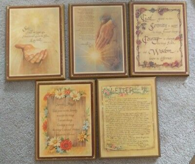 """5 Vintage Wooden Religious Wall Plaques Prayer Lord Spiritual 6.5"""" x 8.5"""""""