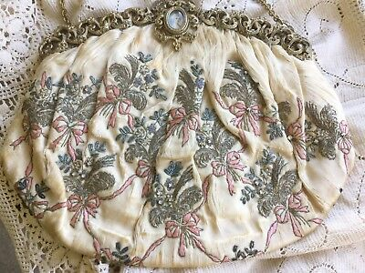 Antique vict French bag/purse silk w metalwork,pink bows,marcasites,stones