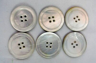 "6 LARGE Vtg MOP Mother of Pearl Abalone 4 Hole Shell Buttons 1/16 "" Light Round"