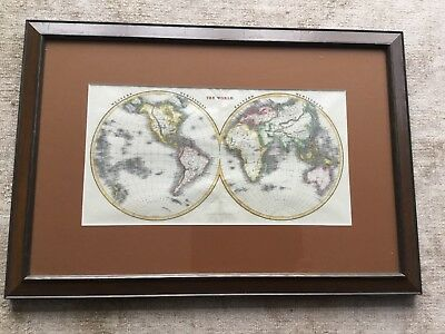 Collectible Antique The World Map Engraved by T. Starlings 1840s