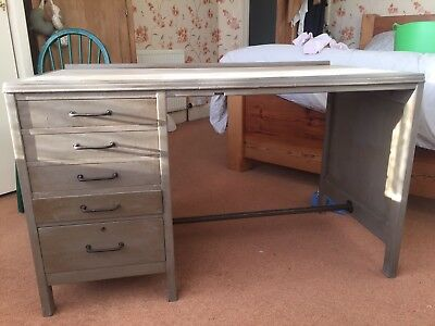 Industrial Vintage Wooden desk With drawers And compartments