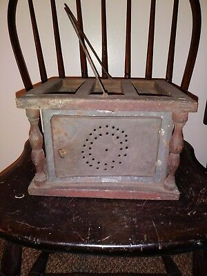 Early Punched Tin Carriage Foot Warmer Heart Design 1800s