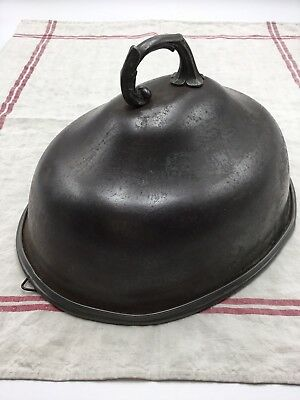 RARE 1800's Victorian Antique Metal Hanging Meat Dome Cloche W/ Handle