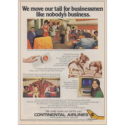 1975 Continental Airlines: We Move Our Tail for Businessmen Vintage Print Ad