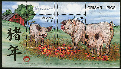Aland 2018 MNH Year of Pig 2019 2v M/S Chinese Lunar New Year Stamps