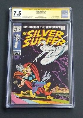 Silver Surfer #4 • Scarce Issue • Thor X-Over • Hi Grade Cgc 7.5 • Stan Lee Sig