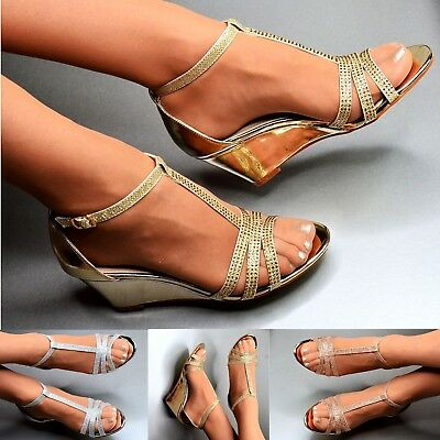 Ladies Mid Heel Wedge Shoes Diamante Bridal Prom Evening Sparkly Strappy Sandals