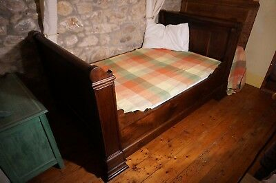 Antique Oak French sleigh bed empire day bed and mattress x 2
