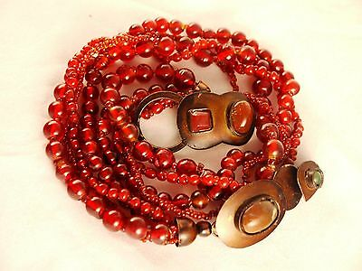 Vintage Hand-Made Four Strand Red Glass Beaded Unique Clasp Necklace