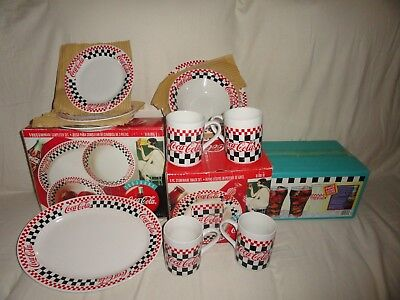 Coca-Cola Diner Bundle-Gibson 8pc Snack & 3pc Completer Sets, 6 Bell Glasses
