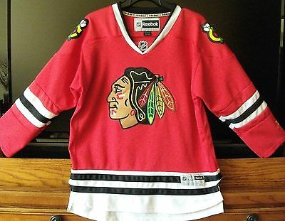 Nhl Chicago Blackhawks Red Reebok Stitched Embroidered Jersey Youth L/xl (12-16)