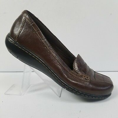 cb9af4853d3 Clarks Bendables Bayou Two Brown Leather Loafers 65474 Womens Size 6 M