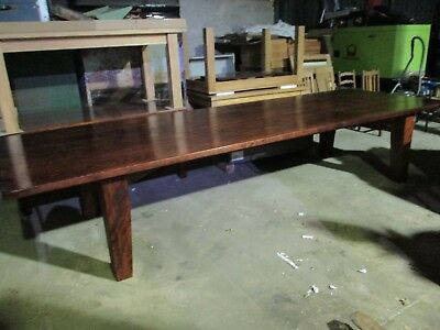 Large Rectangular Substantial Pine Dining Table Solid Wood Farmhouse Pitch Plank