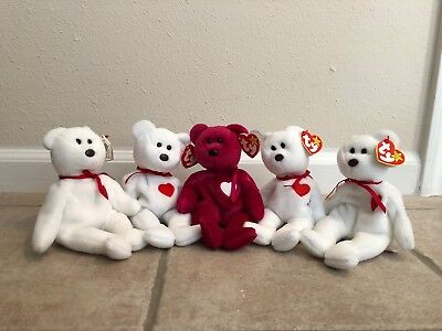 ec64b884977 TY BEANIE BABIES Valentina   Valentino Mint Condition with Tags Lot ...