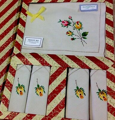 VINTAGE EMBROIDERED Boxed Roses IRISH LINEN 2 TROLLEY  CENTRE CLOTHS 4 NAPKINS