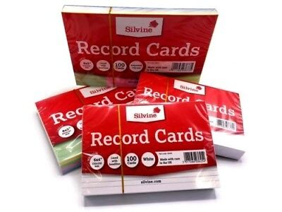 Revision/Flash/Index Silvine Record Cards - White/Ruled/Coloured FREE P&P UK