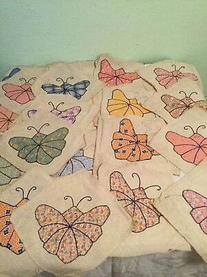 """Twenty Two Antique 1800""""s Handmade Butterfly Quilt Tops"""