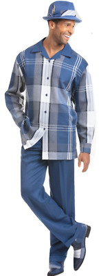 Men MONTIQUE 2pc Walking Leisure suit Long Sleeve Set 1817 Navy Plaid