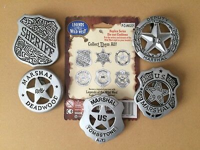 Legends of the Wild West badges Tombstone Deadwood Novelty 5 out of 6 set