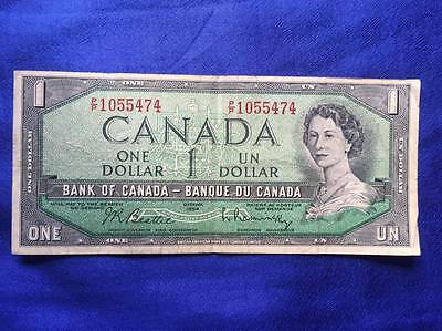 Queen Elizabeth Ii 1954 Canada 1 Dollar  Circulated Banknote Prefix P/p 1055474