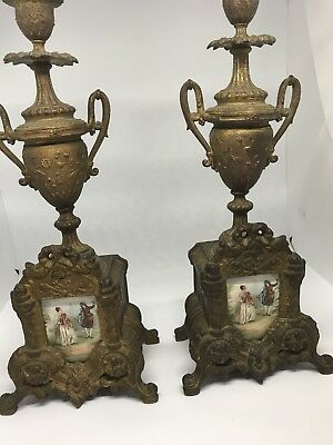 Antique French Spelter & Porcelain Candelabras