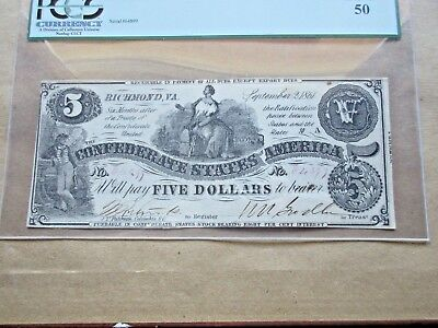 Confederate Currency T-36 $5 1861 PCGS About New 50