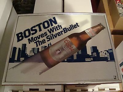 BOSTON Moves With The Silver Bullet Mirror / Sign Coors Light Beer RARE! VG