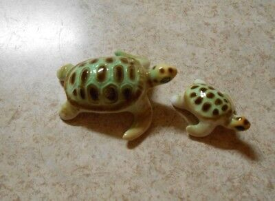 Vintage China Green Brown Turtle Tortoise and Baby Miniatures