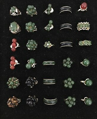 Vintage Lot of 30 pcs Handcrafted Gold Tone Gemstone Mix Rings - R8