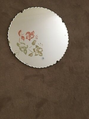 Vintage Round Frosted Picture Scolloped Mirror