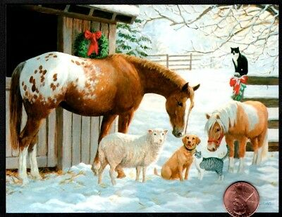 Christmas Horses Sheep Dog Cats Kittens Snow-  SMALL Christmas Greeting Card NEW