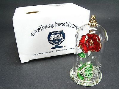 NIB Arribas Mini CRYSTAL BEAUTY & THE BEAST ROSE In Box Belle DISNEYLAND PARK