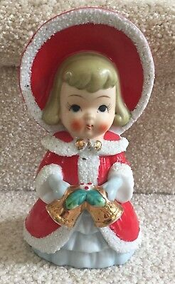 "Vintage Large (6 3/4"") Christmas Girl Holding Bells Spaghetti Trim FREE SHIP"