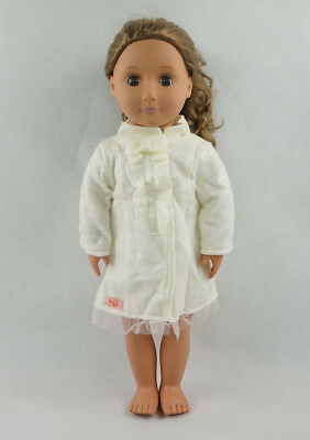 Fit For 18'' American Girl White Mini Dress Fall Autumn Long Sleeve Doll Clothes
