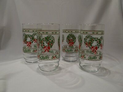 "Set of 4 Vintage Pepsi Cola Christmas Wreath 5 3/4"" Tumblers. 2 Sets available"