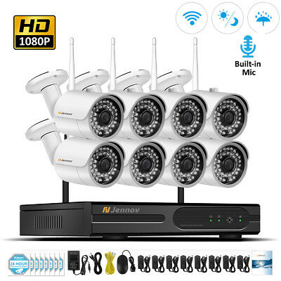8CH 1080P IP Wireless Home Security Camera System WIFI NVR CCTV Audio Record Kit