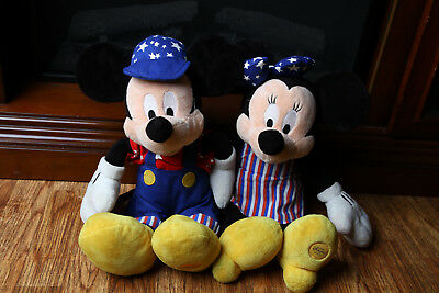 Mickey Mouse & Minnie Stuffed Plush Set 4th of July Disney Store Exclusive